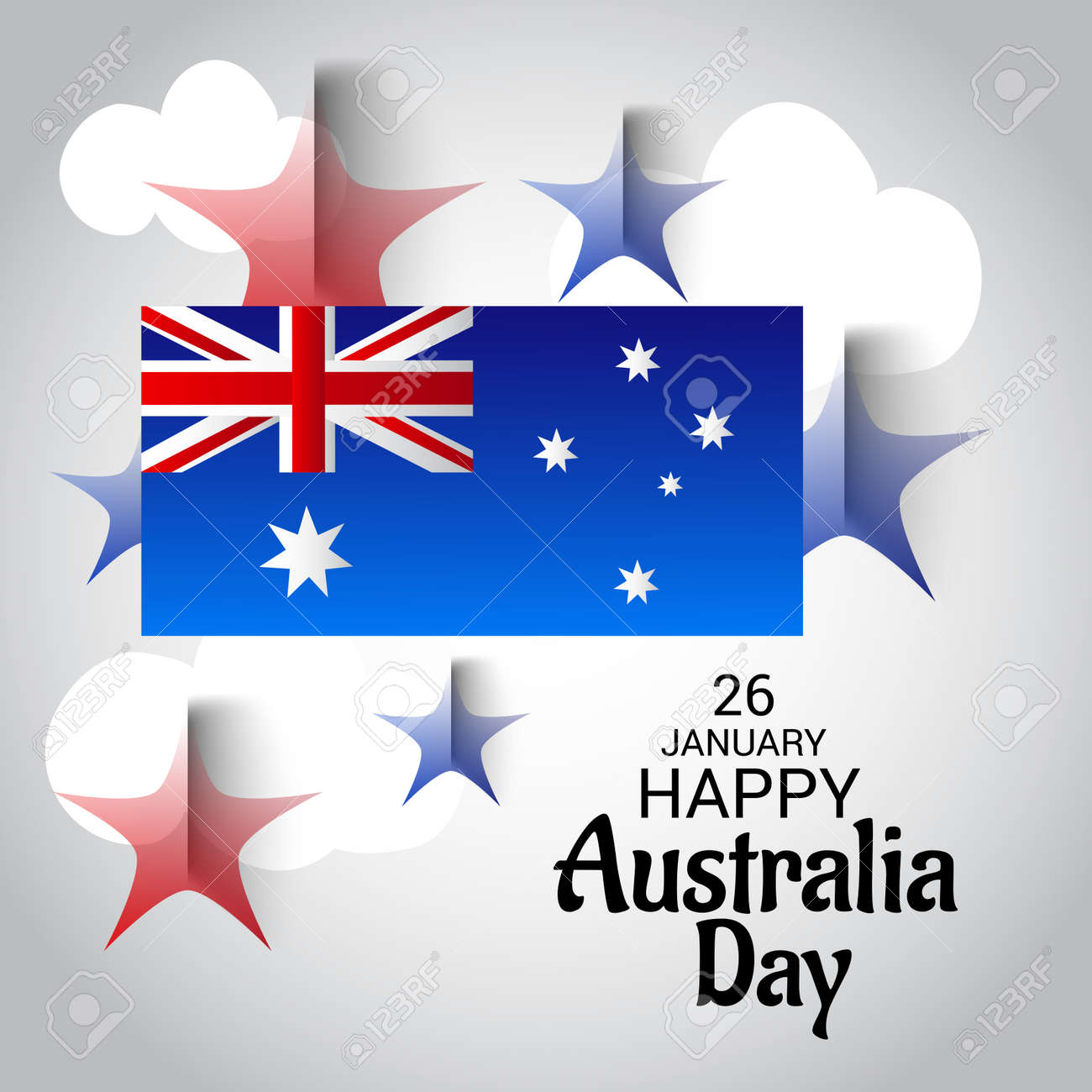 Happy australia day greeting card with australian flag design happy australia day greeting card with australian flag design stock vector 94132461 m4hsunfo