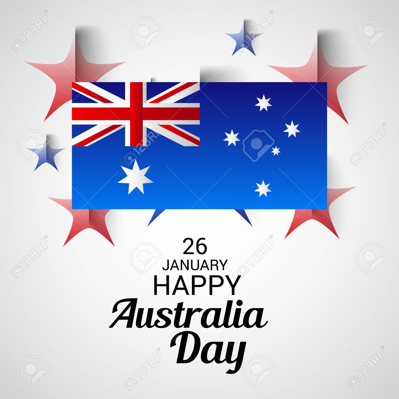 Happy australia day greeting card with australian flag design happy australia day greeting card with australian flag design stock vector 94132468 m4hsunfo