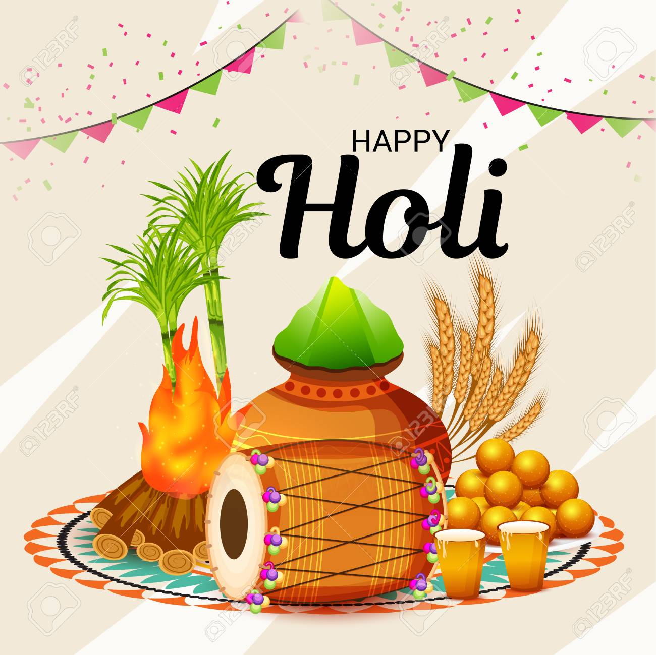 Happy holi greeting card template royalty free cliparts vectors happy holi greeting card template stock vector 95741018 m4hsunfo