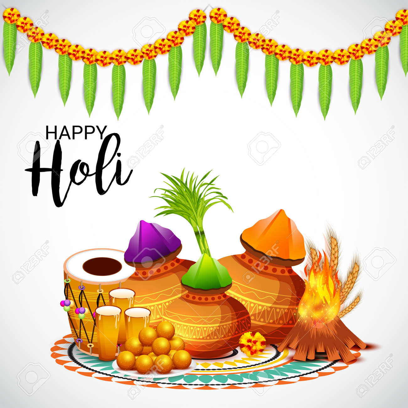 Happy holi greeting card template royalty free cliparts vectors happy holi greeting card template stock vector 95741255 m4hsunfo