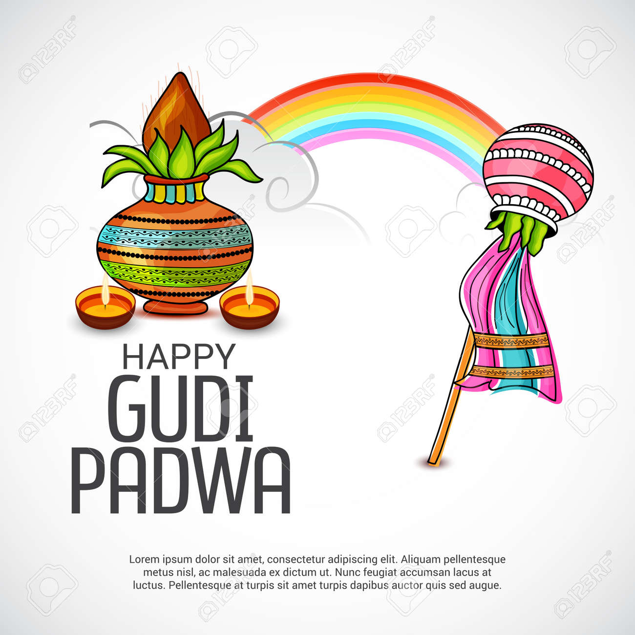 Happy gudi padwa greetings with colorful festive elements and happy gudi padwa greetings with colorful festive elements and rainbow illustration stock vector 95990226 m4hsunfo