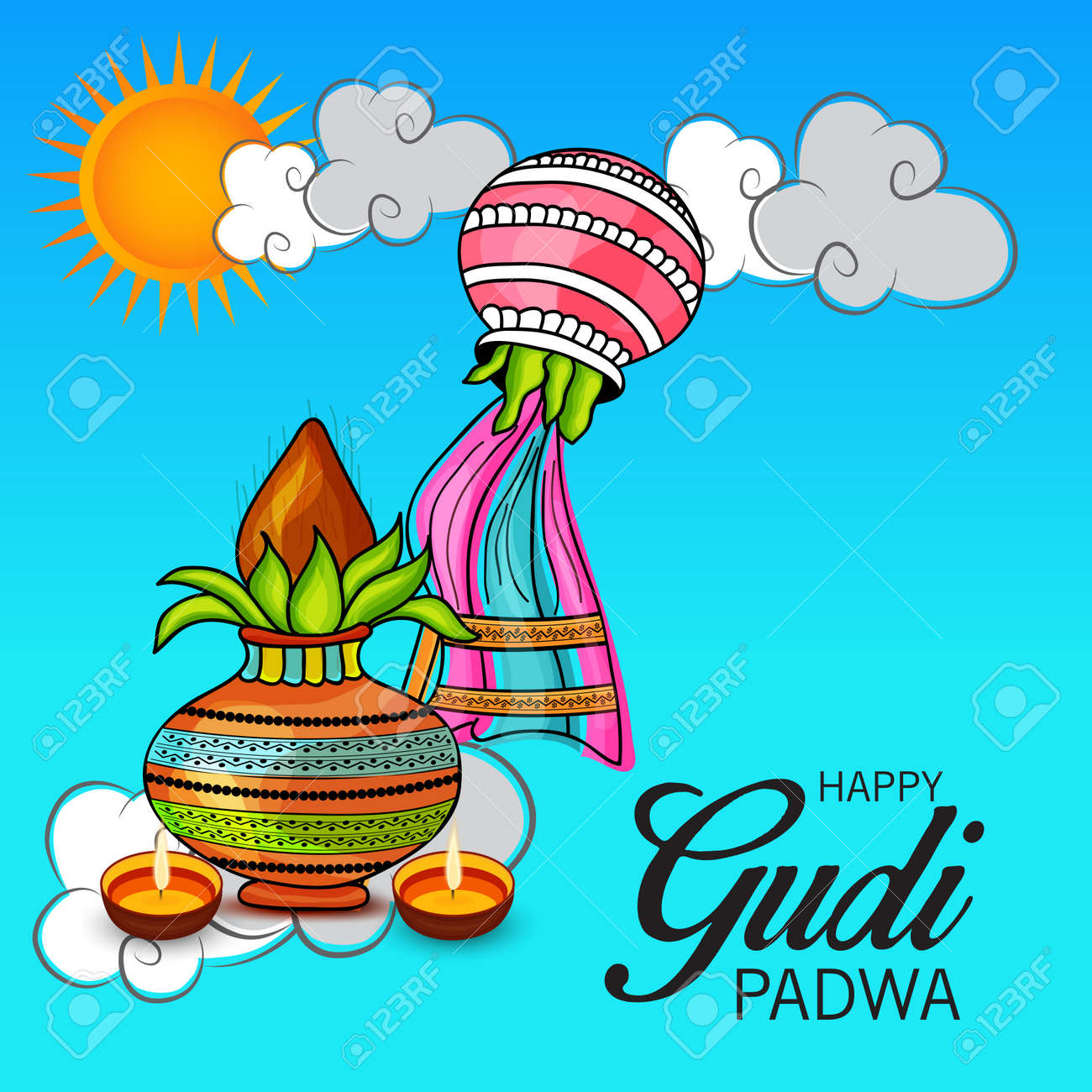 Happy gudi padwa greetings with colorful festive elements and happy gudi padwa greetings with colorful festive elements and sun and clouds illustration stock vector m4hsunfo