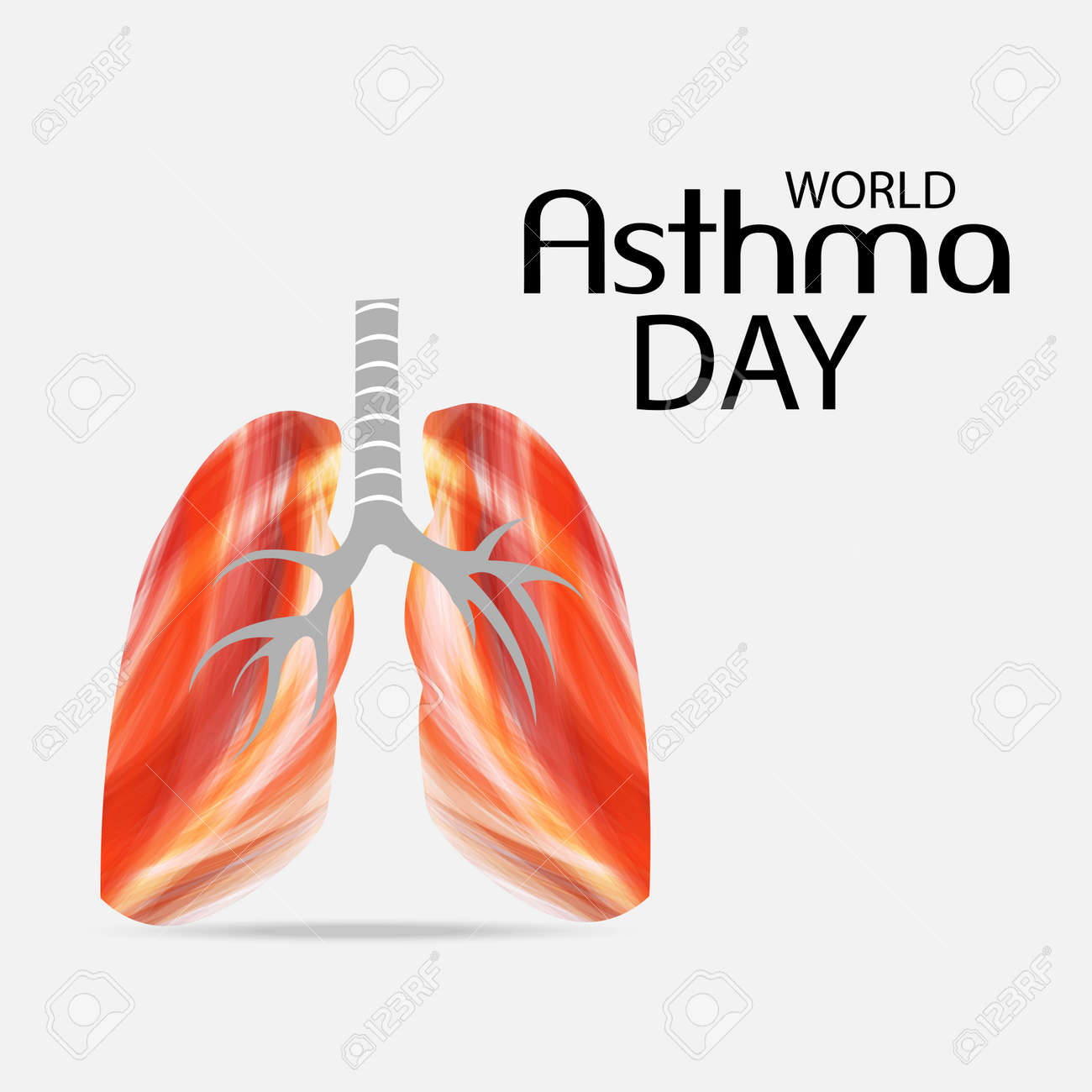 World Asthma Day Banner With Text And Lungs On White Background ...