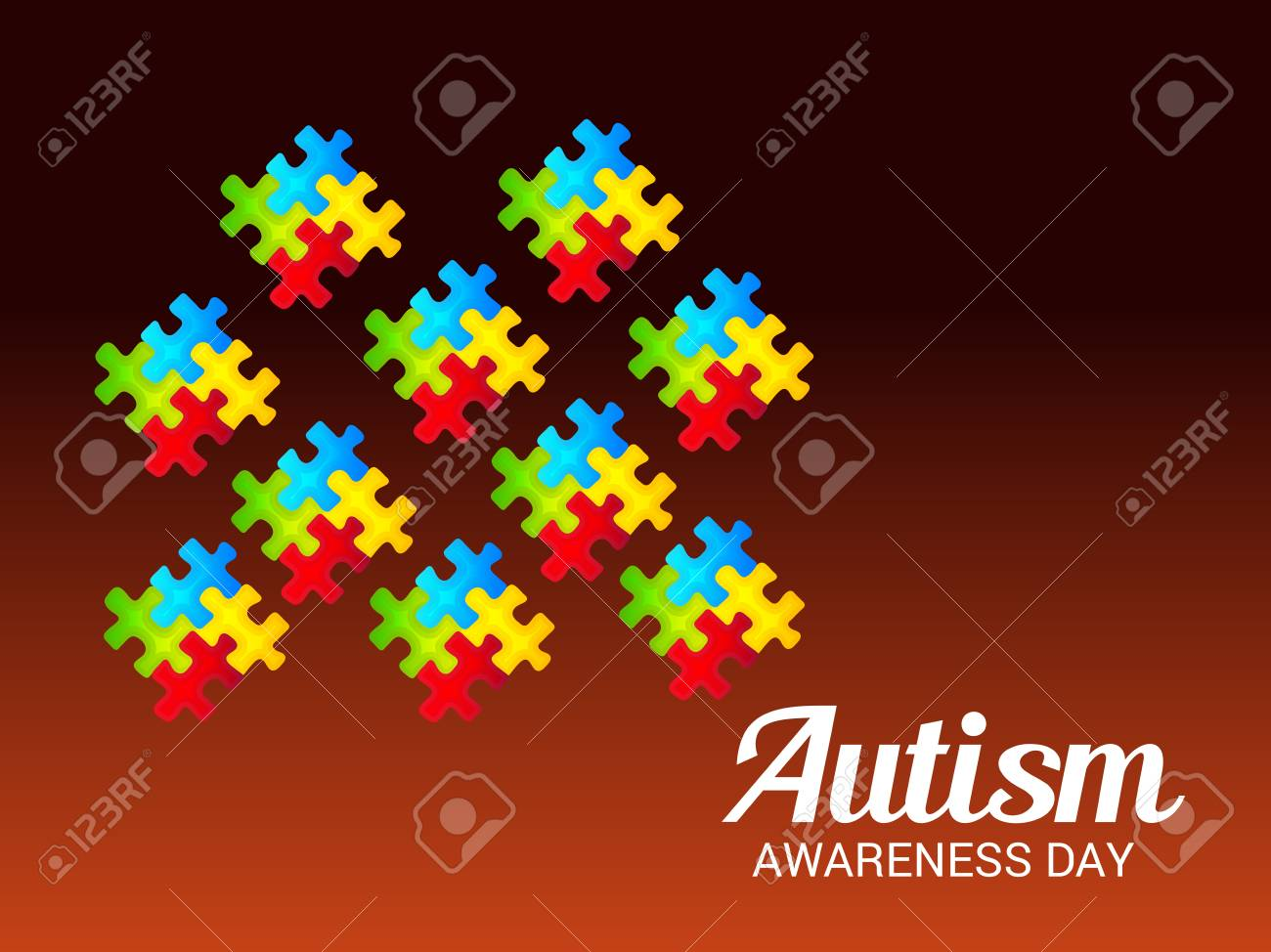 world autism awareness day banner with jigsaw pieces on dark