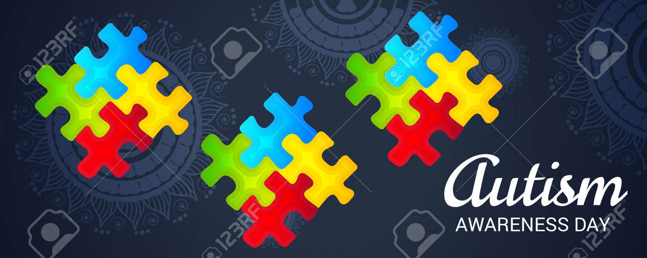 world autism awareness day banner with jigsaw puzzles on dark