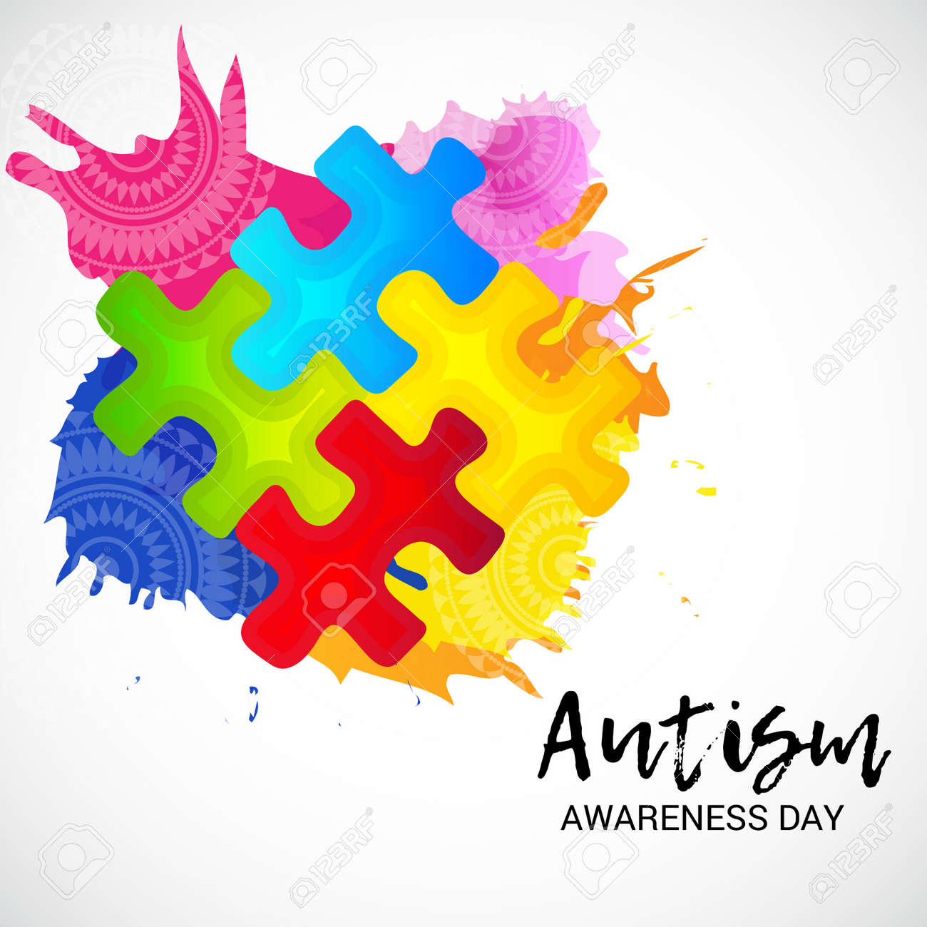 world autism awareness day banner with jigsaw puzzle on white