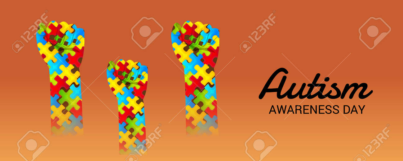 world autism awareness day with colorful designs banner royalty