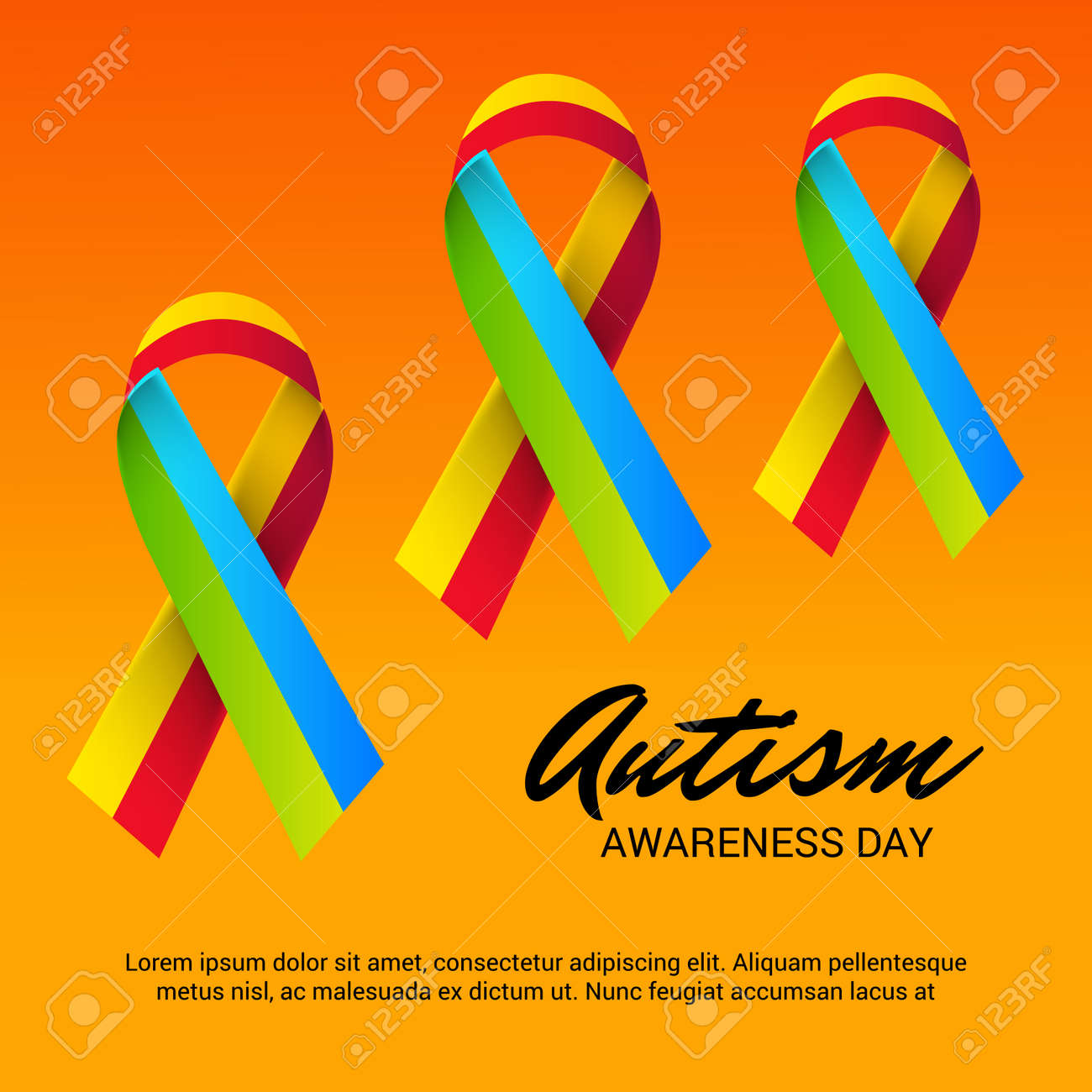 world autism awareness day with colorful ribbons banner royalty