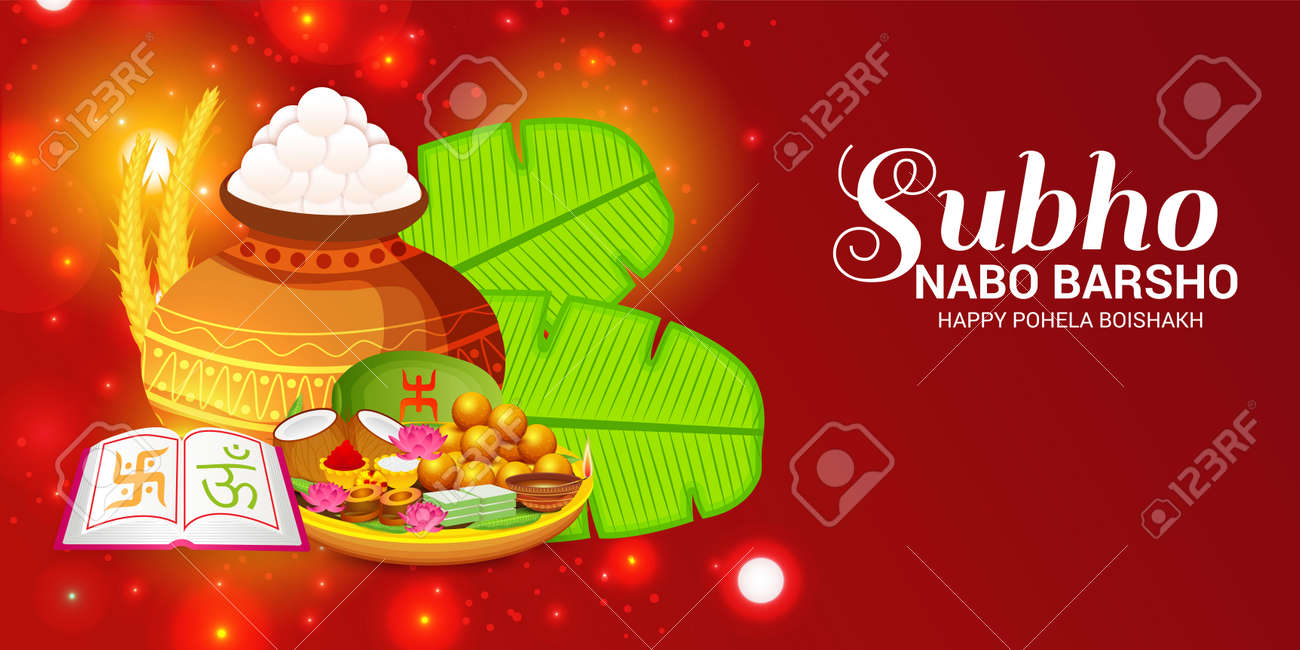 bengali new year subho nabo barsho happy pohela boishakh colorful banner stock vector