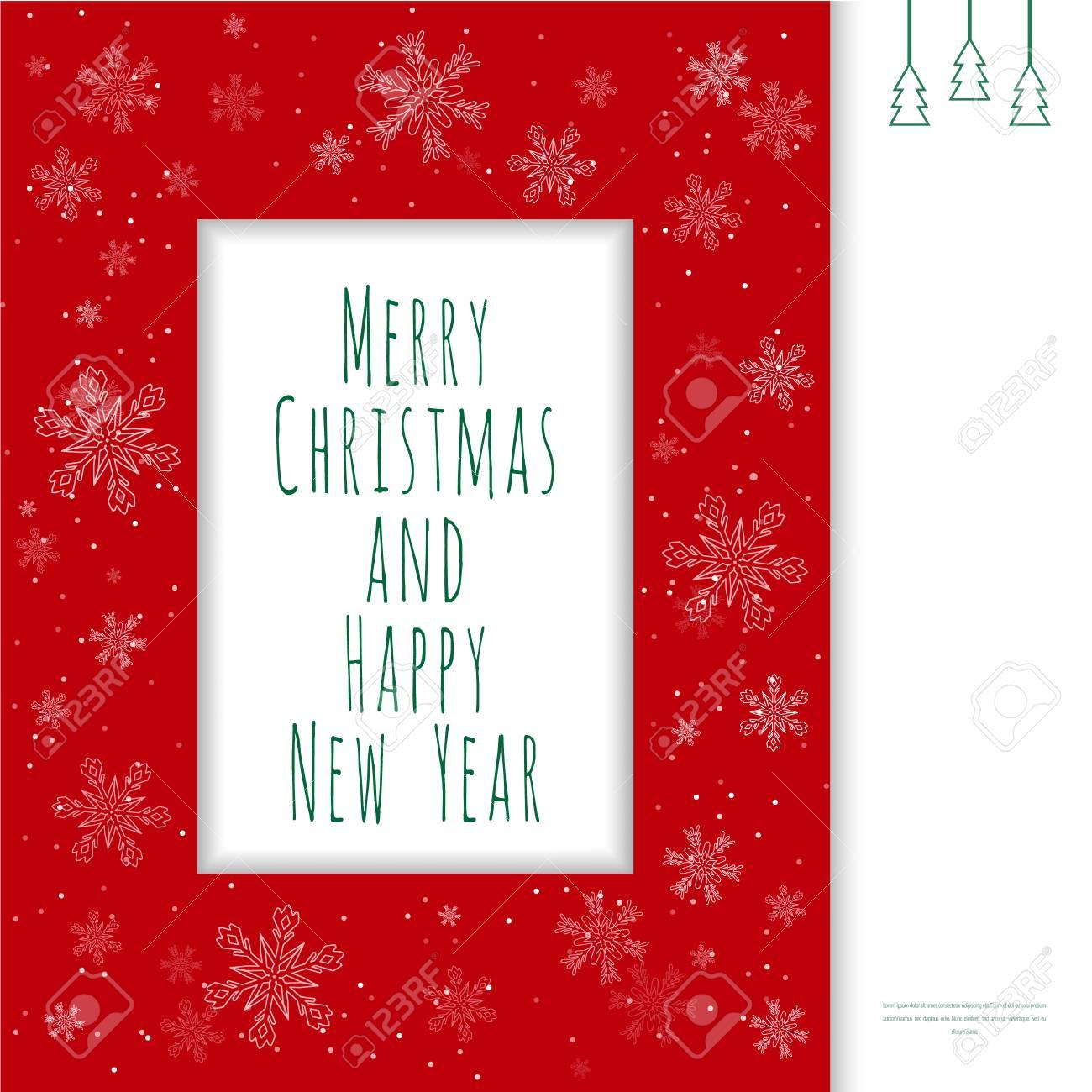 Weihnachtsgrußkarte. Roter Rahmen Mit Schneeflocken Und Textfeld Ein ...
