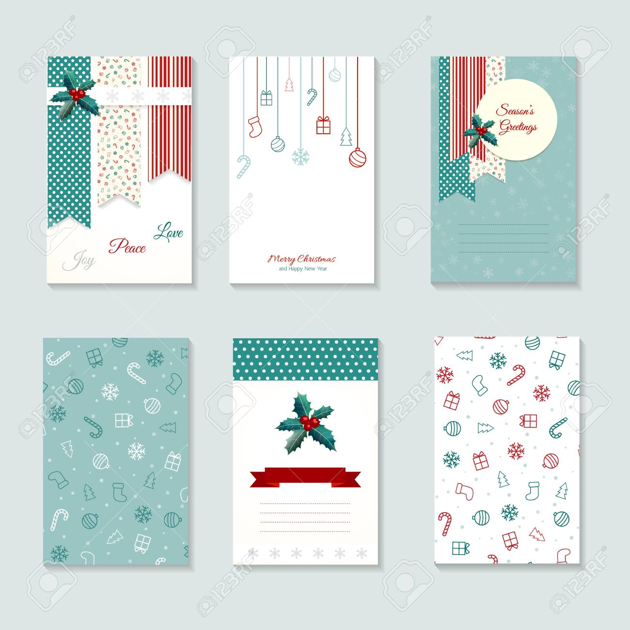 Christmas Card Templates.Christmas Card Templates Holiday Posters Set Template For Greeting