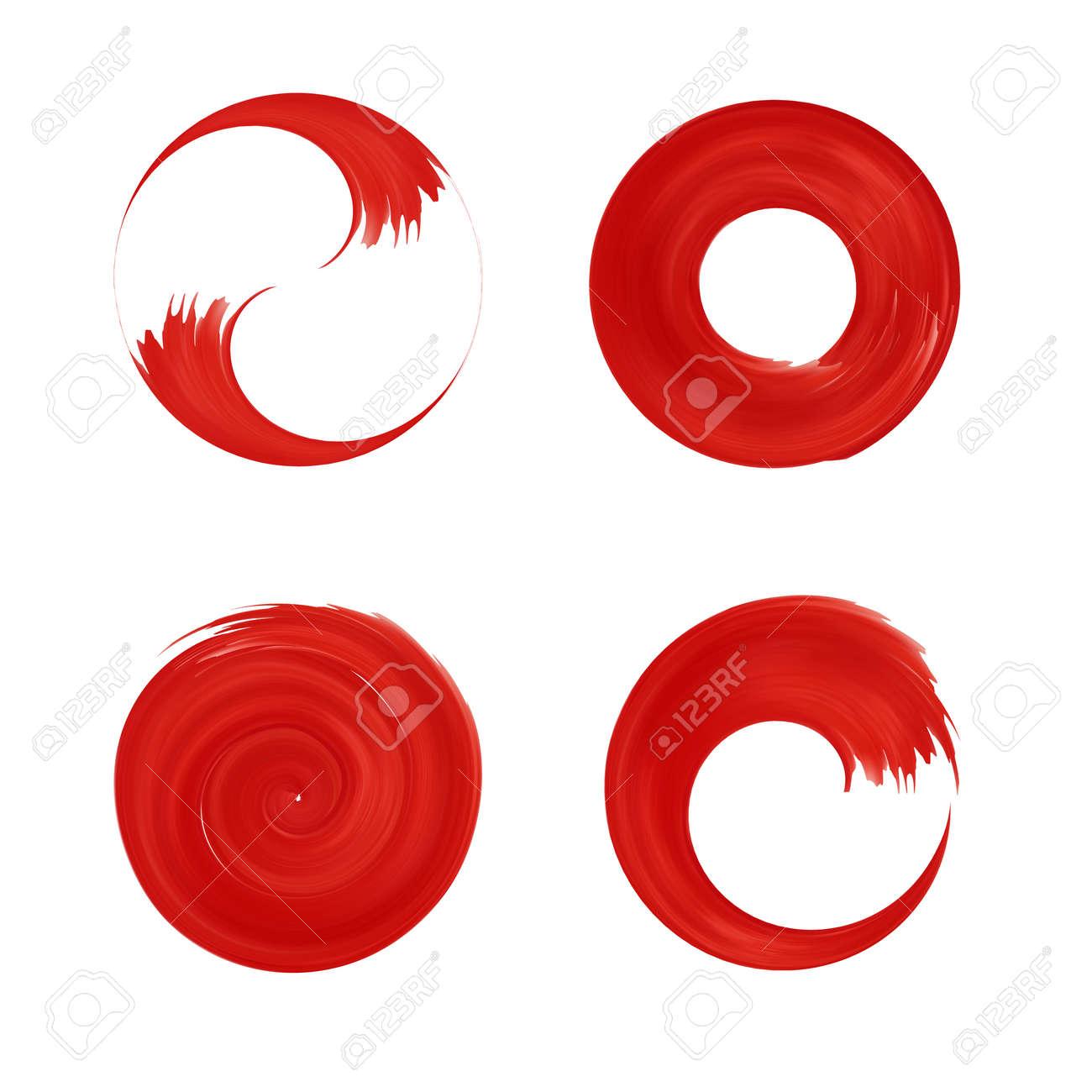 Set of red round element for design. Japan red circle. Logo templates. Brush stroke swirls . - 50930939