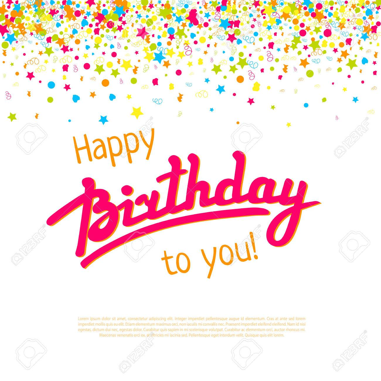 Happy Birthday Greeting Card Template With Hand Lettering, Confetti And  Textbox Stock Vector   52670441