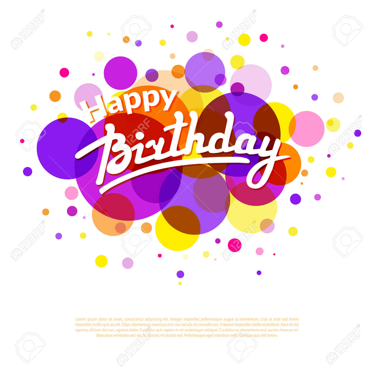Happy birthday greeting card template on background with colorful happy birthday greeting card template on background with colorful circles and textbox stock vector 53382746 pronofoot35fo Image collections