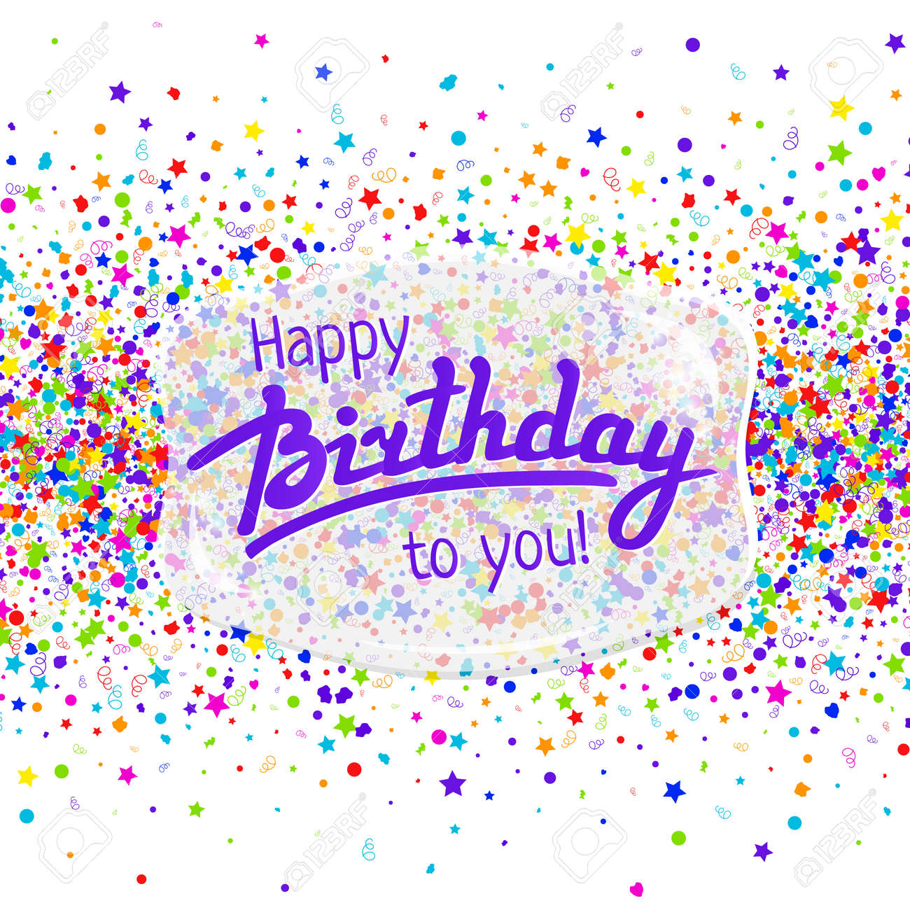 happy birthday greeting card template with lettering and confetti