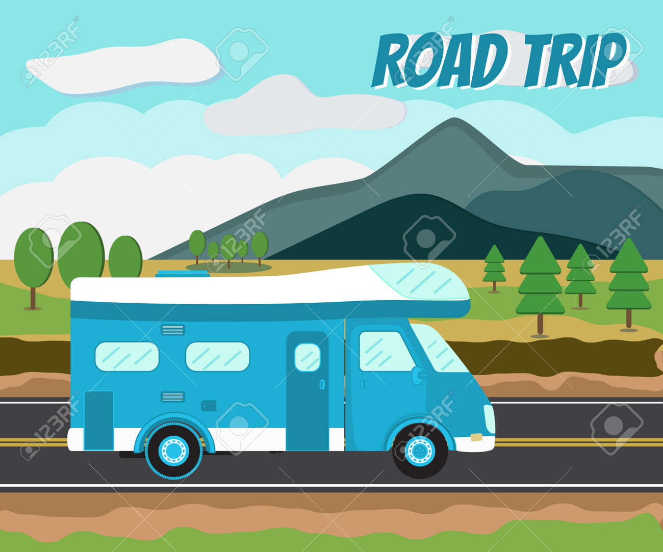 Camper Car On A Road Journey By Tip Mobile Home