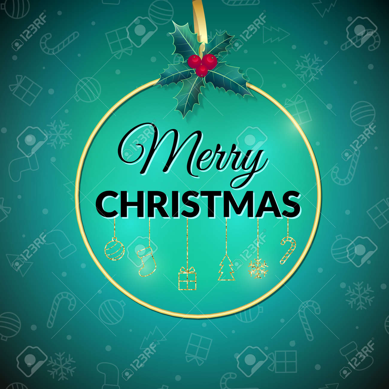 Merry Christmas . Green Holiday Background. Xmas Greeting Card ...