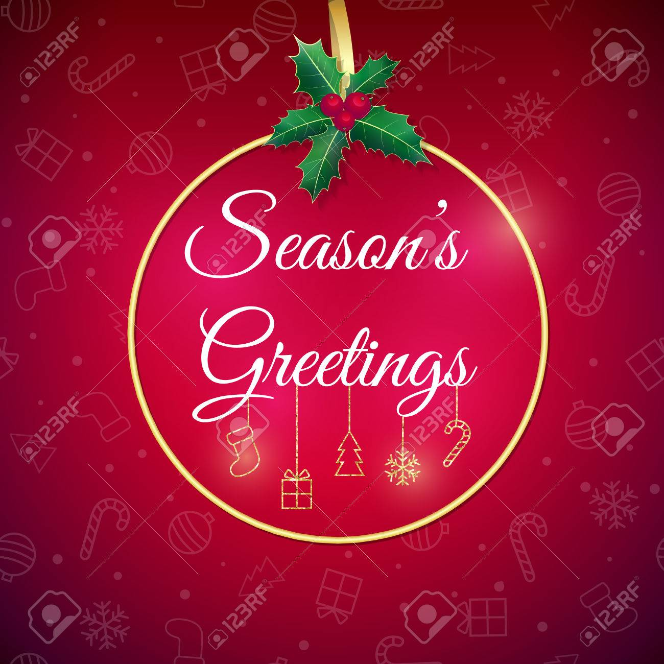 Seasons Greetings . Red Holiday Background. Xmas Greeting Card ...
