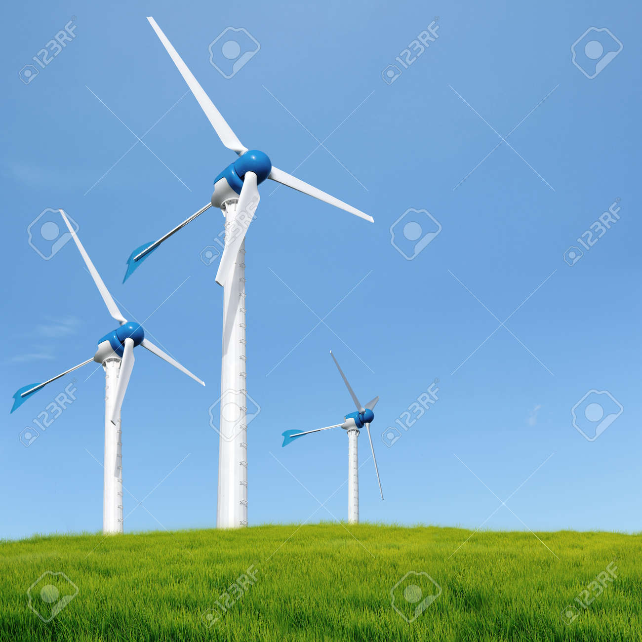 Wind turbines in an open field on cloudy day - 14154350