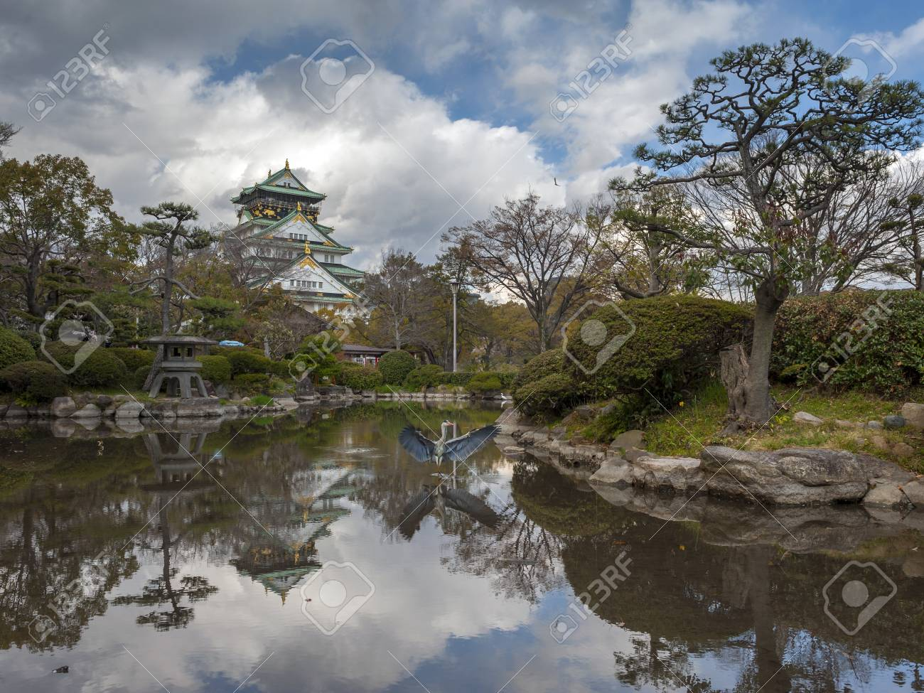 Pool Water In Garden Of Osaka Castle Stock Photo, Picture And ...