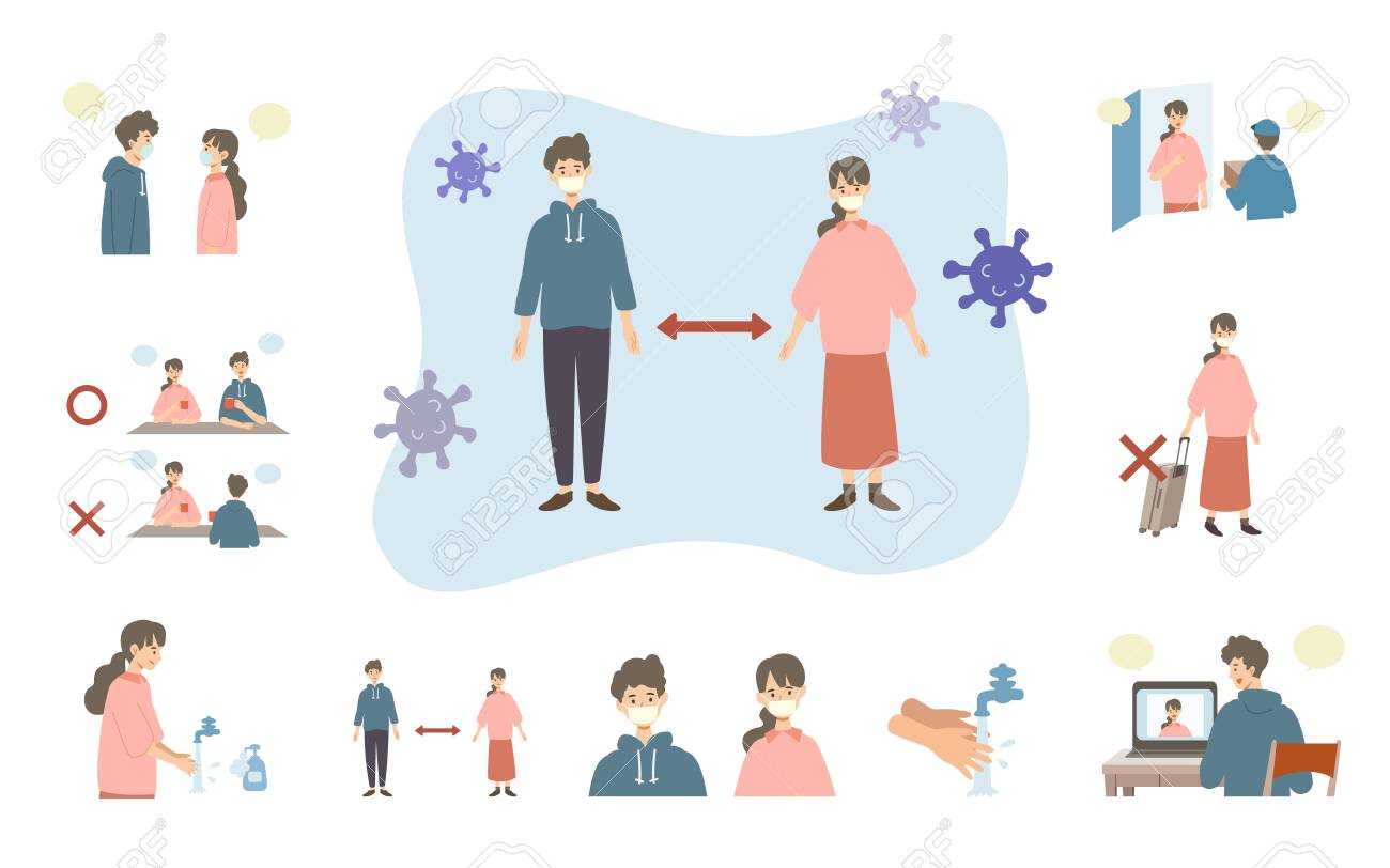 Vector illustration of people combating the coronavirus. New norms for prevent the spread of COVID-19. - 147271409