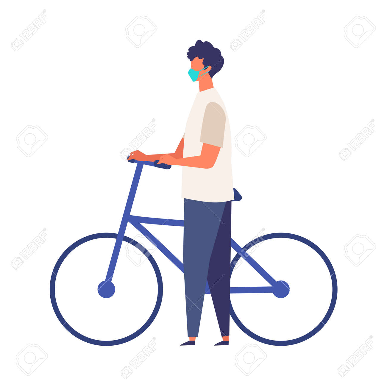 Masked man get off and walk his bikes at summer. Man have a relaxing day off. Flat cartoon colorful vector illustration. - 149874857