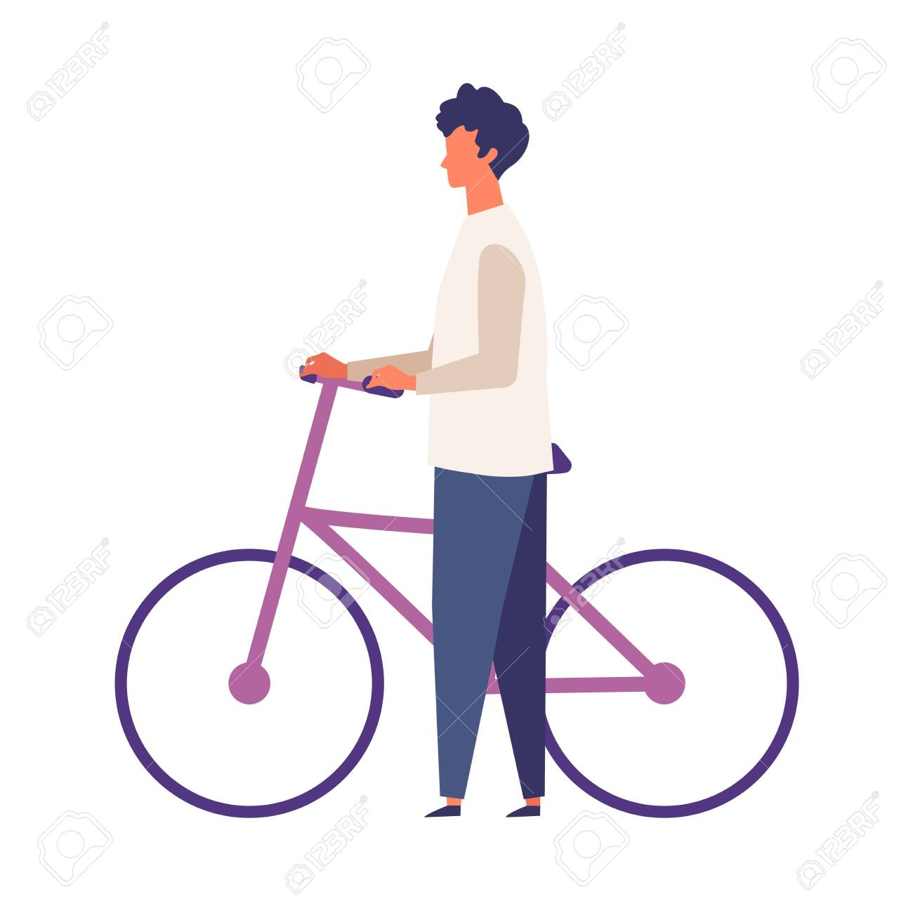 Man get off and walk his bikes at autumn. Man have a relaxing day off. Flat cartoon colorful vector illustration. - 149829737