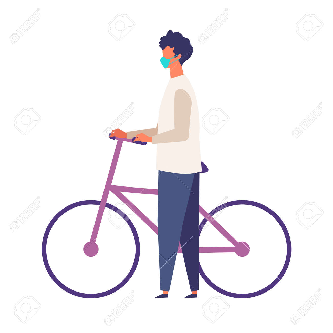 Masked man get off and walk his bikes at autumn. Man have a relaxing day off. Flat cartoon colorful vector illustration. - 149874859