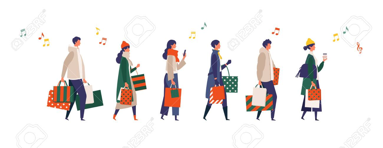 Some people carrying shopping bags at Christmas. Man and woman taking part in seasonal sale at store, shop, mall. Flat cartoon colorful vector illustration. - 154187385
