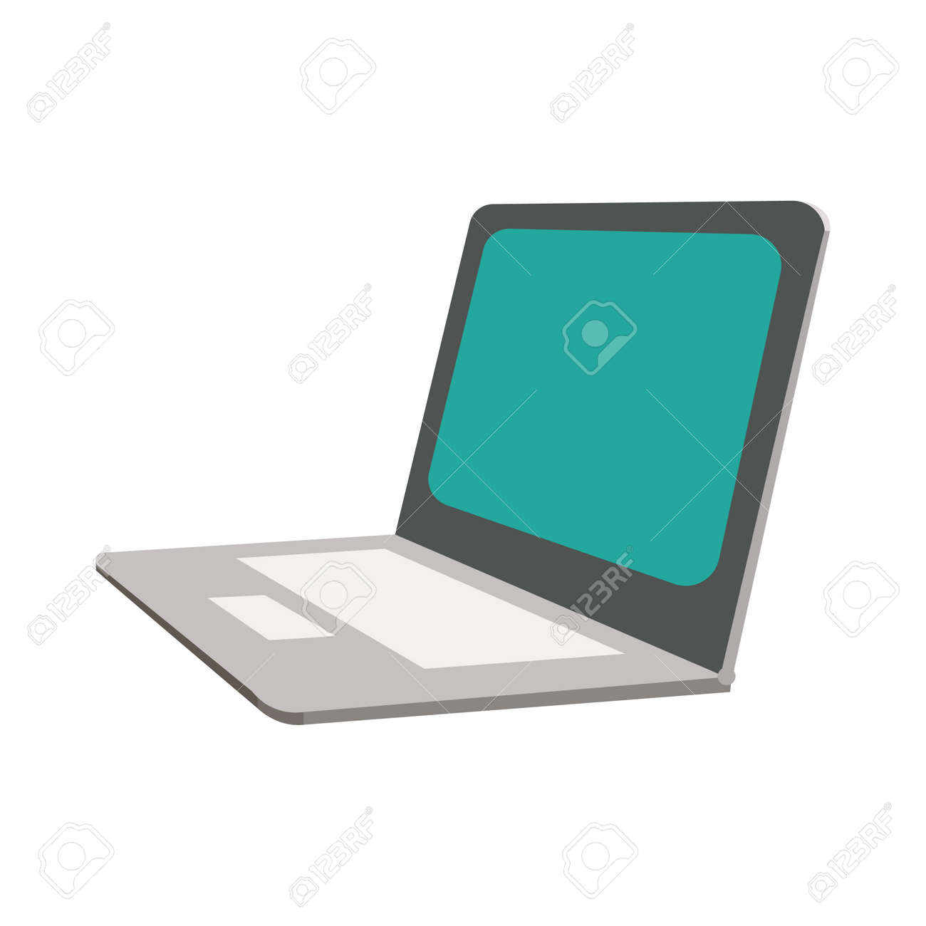 Isolated modern flat vector illustration of a laptop computer. Checking internet via computer. Concept for business scenes. - 154332840