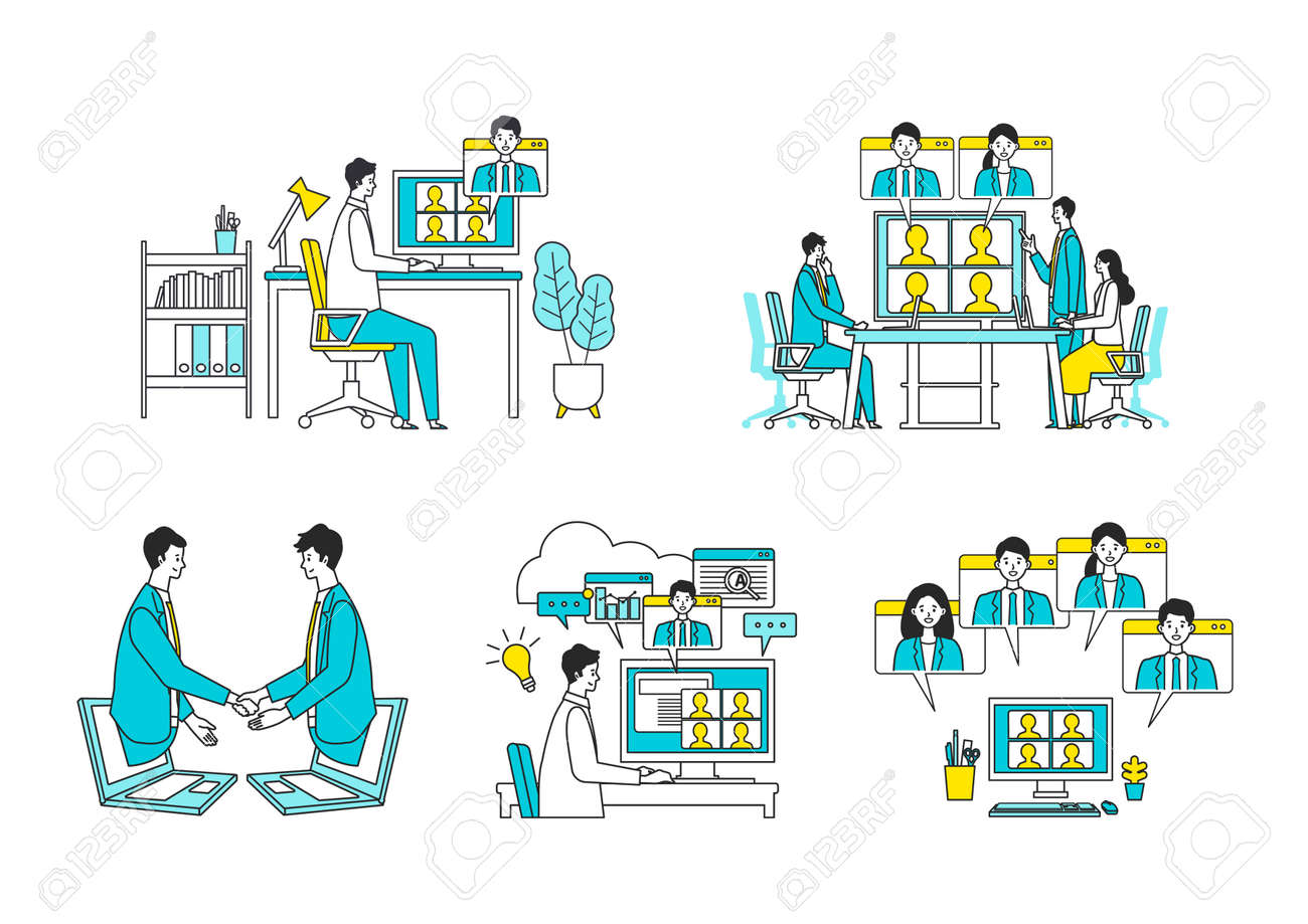 Telecommuting concept. Vector illustration of people having communication via telecommuting system. Concept for any telework illustration, video conference, workers at home. Flat design vector illustration of teleworking people. - 164249089