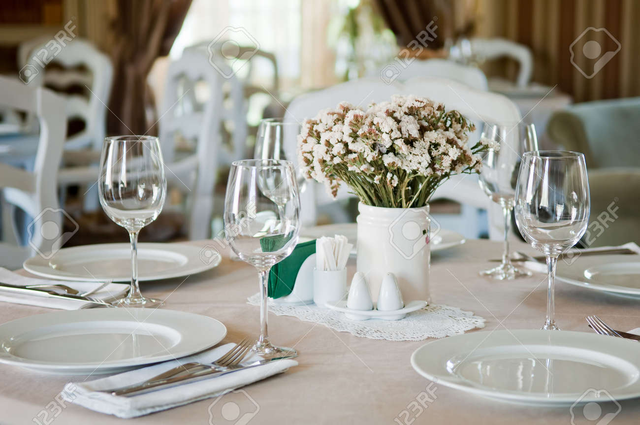 Restaurant table setting ideas - Restaurant Table Setup Fine Table Setting In Beatiful Gourmet Restaurant Stock Photo 8031512