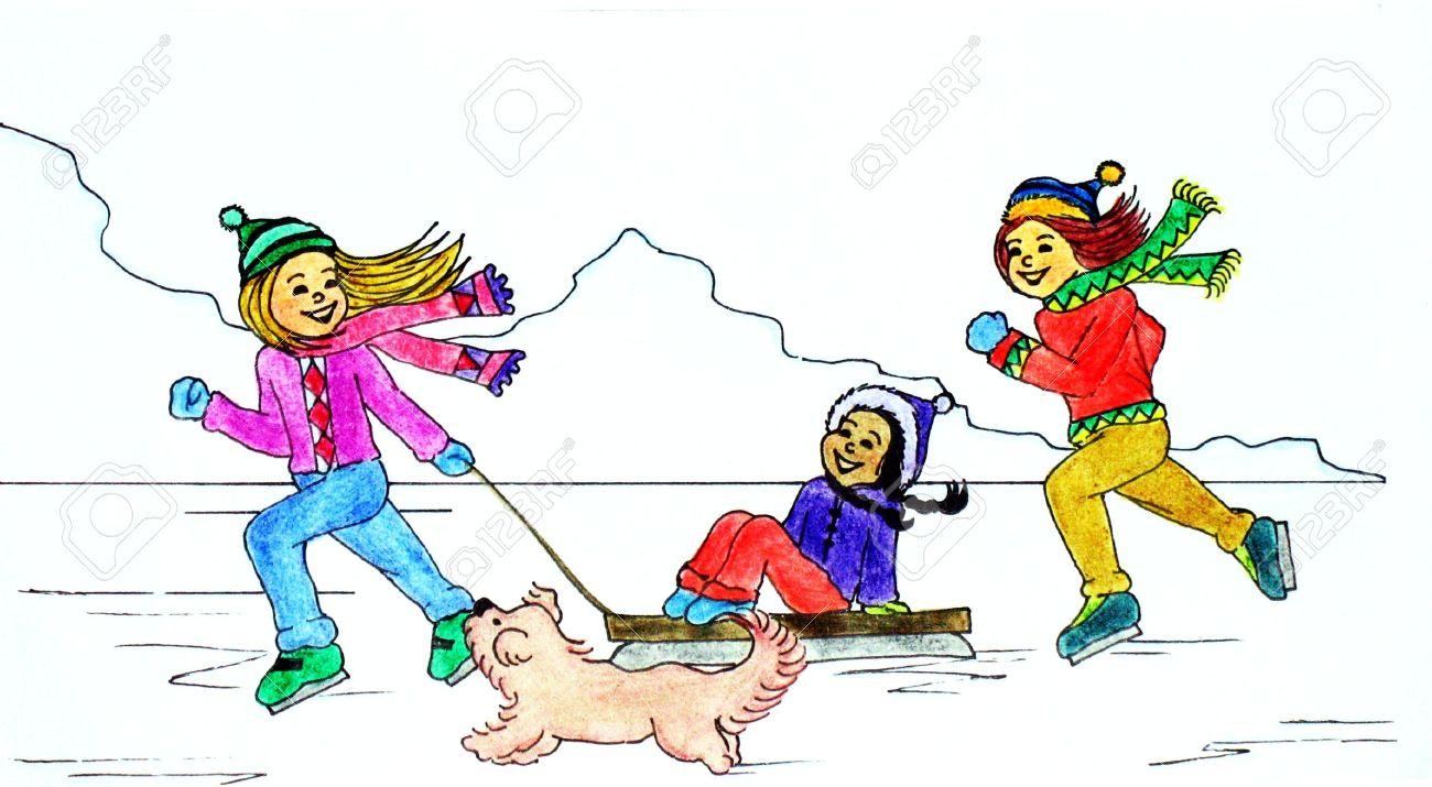 Feria De Invierno Dibujo En Estilo De Dibujos Animados De Ninos