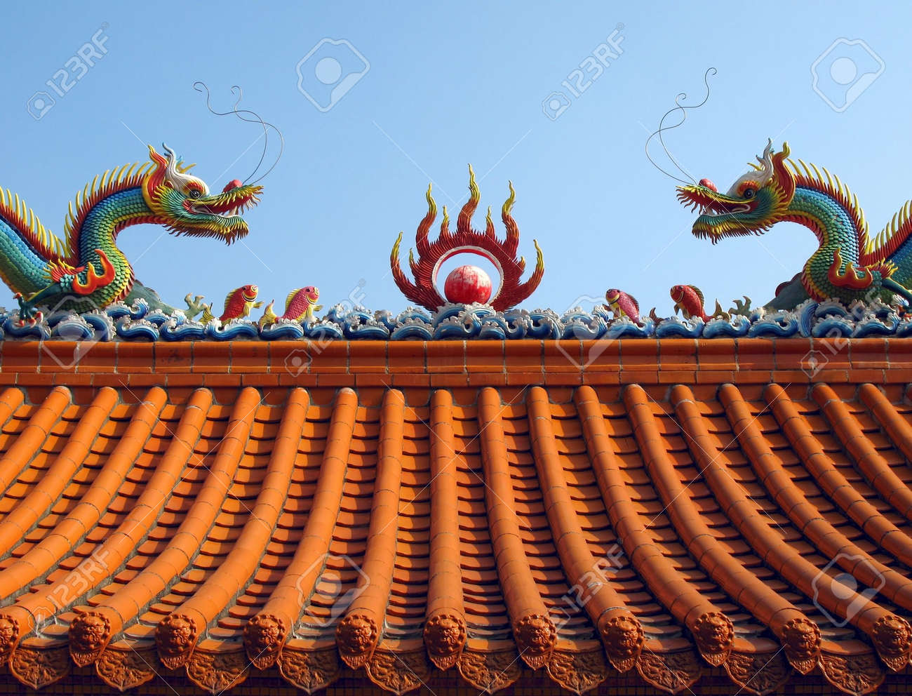 Chinese Temple Roof -- Ridge of Chinese temple decorated with a mythological dragons Stock Photo & Chinese Temple Roof -- Ridge Of Chinese Temple Decorated With ... memphite.com