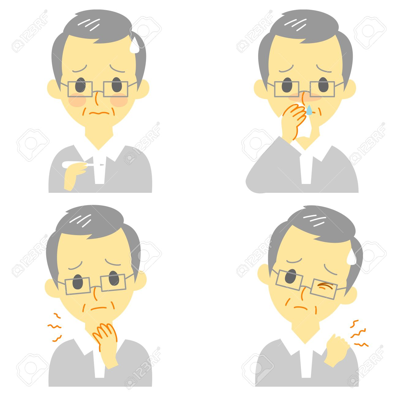 Disease Symptoms 02, fever, sore throat,dripping nose,stiff neck, expressions, old man Stock Vector - 20288173