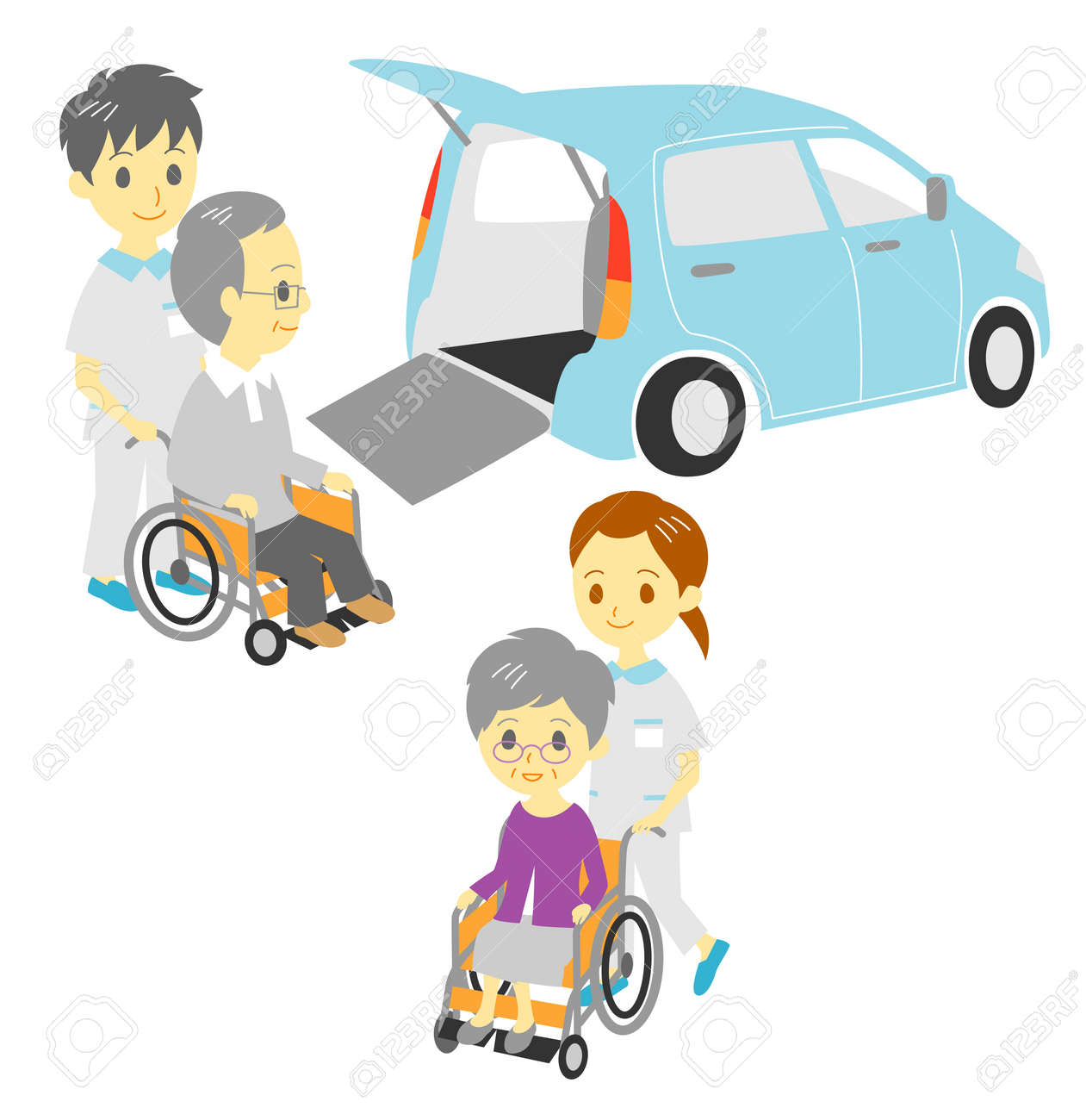 old people in wheelchair, drive and take a walk, Adapted Vehicle, carers Stock Vector - 21215427