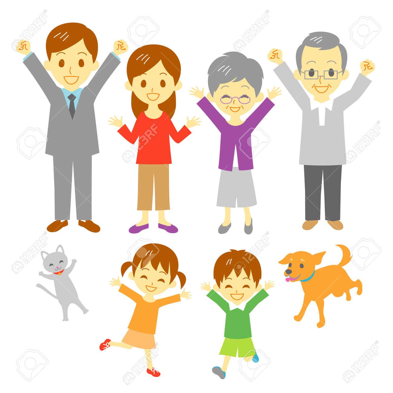 Joyful Family Three Generation Family Dog And Cat Royalty Free Cliparts Vectors And Stock Illustration Image 21215430