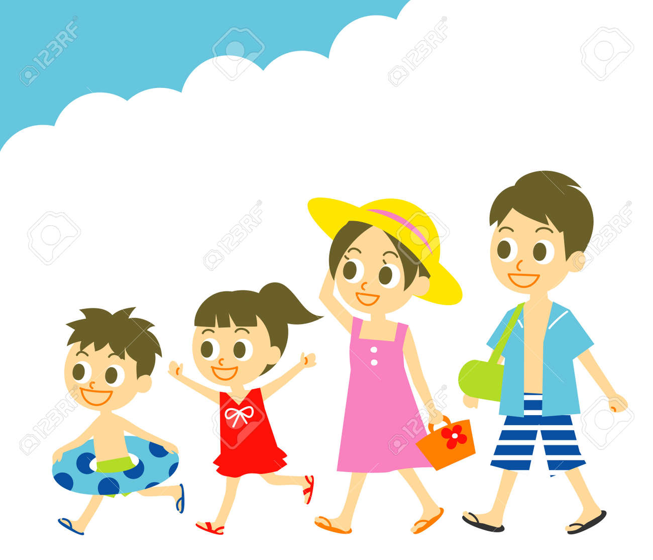 Summer Vacation Family Swim Wear Stock Vector
