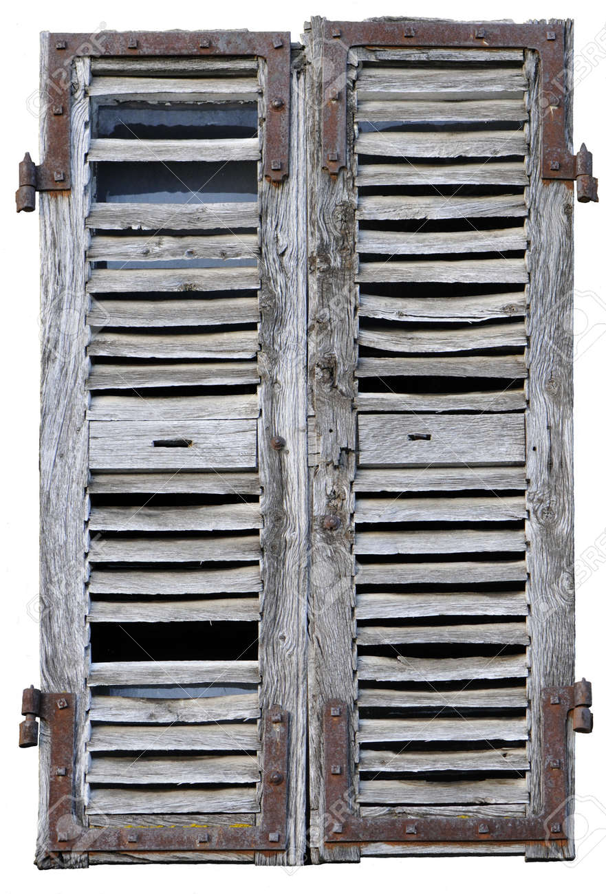 Closed Window With Old Wood Shutters On A White Background Stock