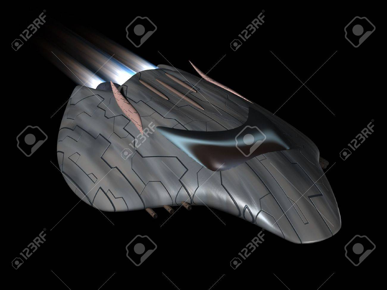 Powerful spaceship very streamlined in action - 8850873