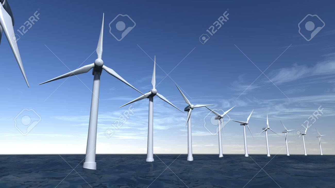 Seascape of offshore wind turbines with a blue sky Stock Photo - 11010928