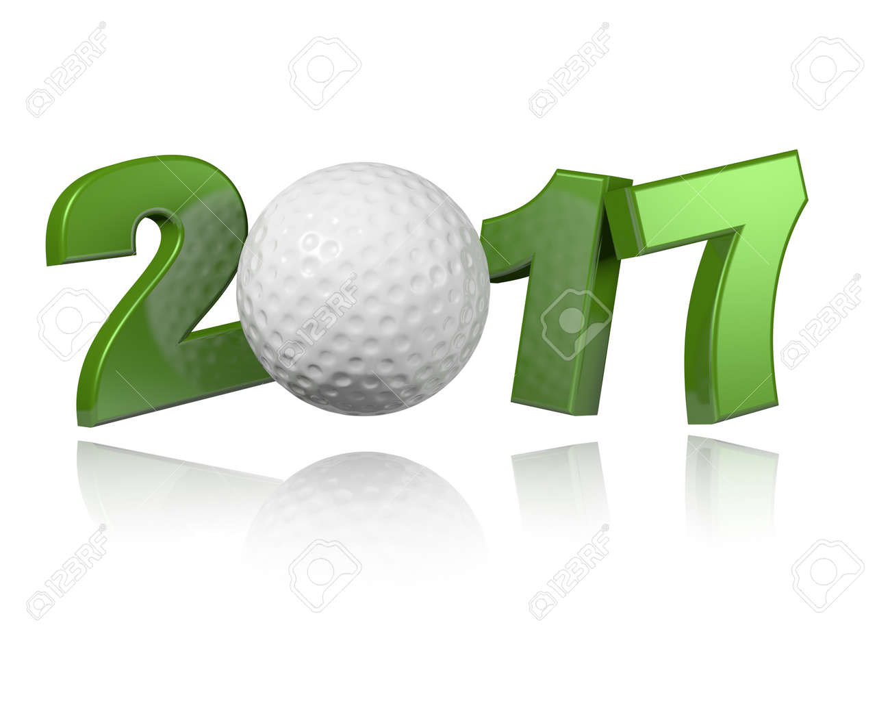 Golf 2017 design with a White Background - 62538397