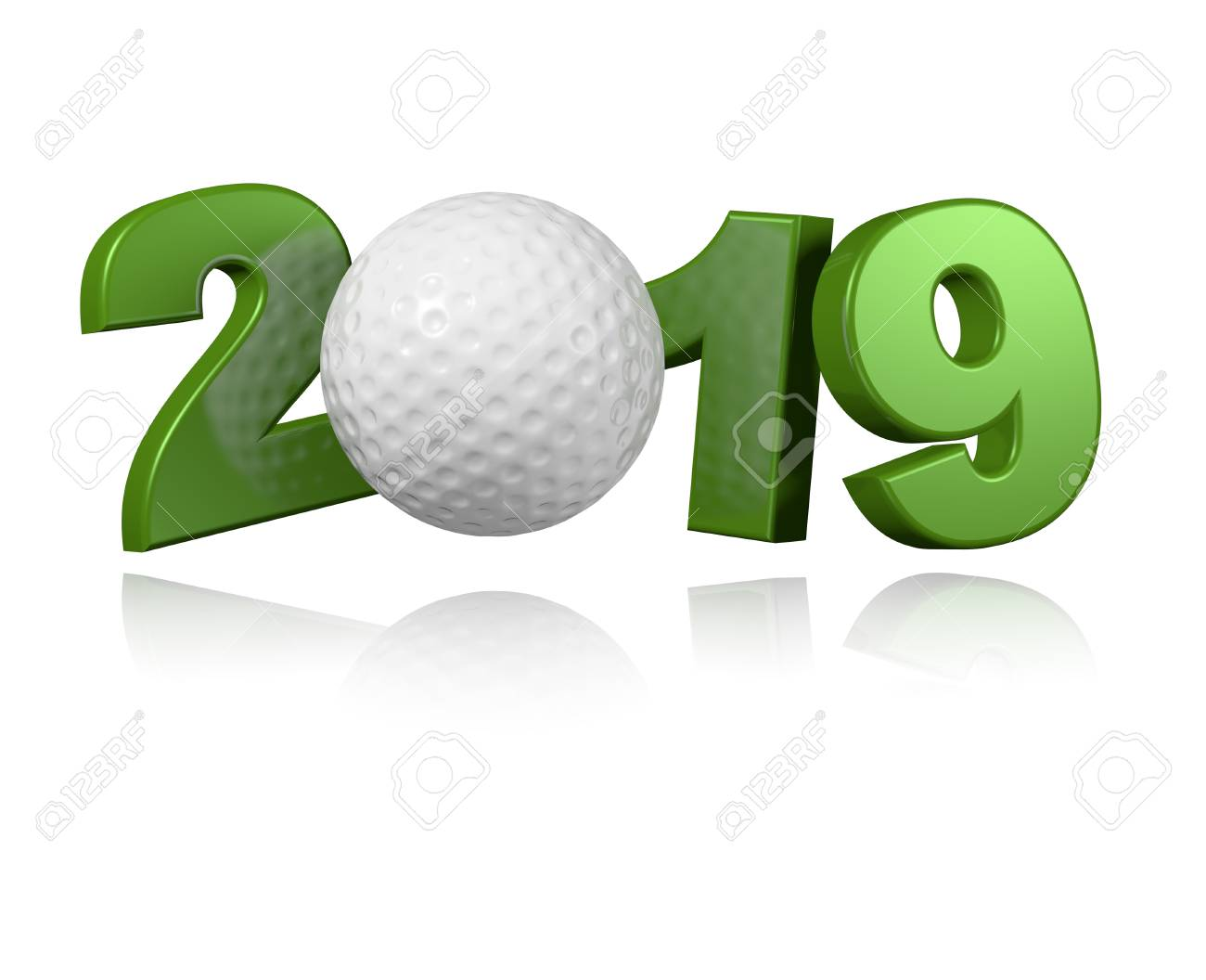Golf ball 2019 Design with a White Background - 102796149
