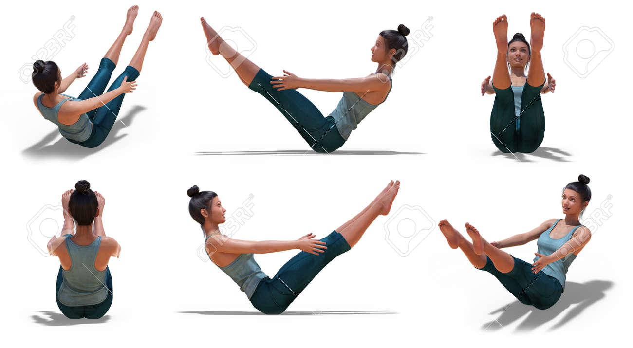 Virtual Woman In Yoga Boat Pose With 6 Angles Of View On A White Stock Photo Picture And Royalty Free Image Image 138273195