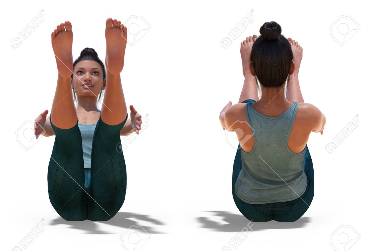 Front And Back Poses Of A Virtual Woman In Yoga Boat Pose With Stock Photo Picture And Royalty Free Image Image 139490242