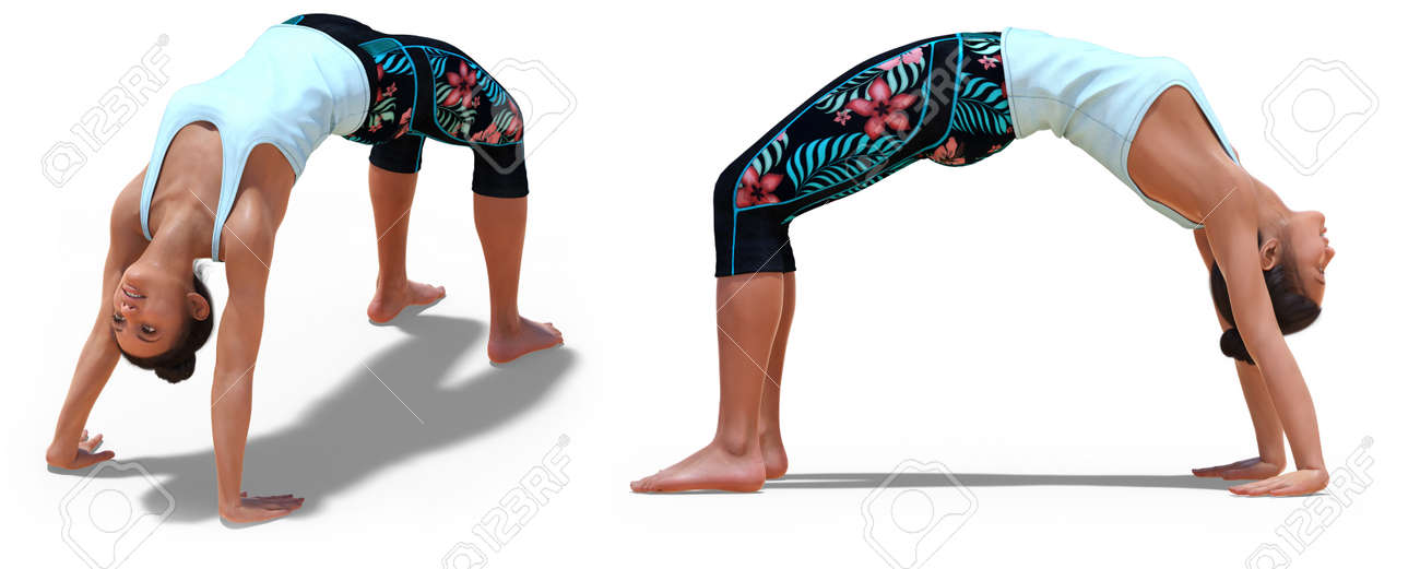 Front And Left Profile Poses Of A Virtual Woman In Yoga Wheel Stock Photo Picture And Royalty Free Image Image 142025643