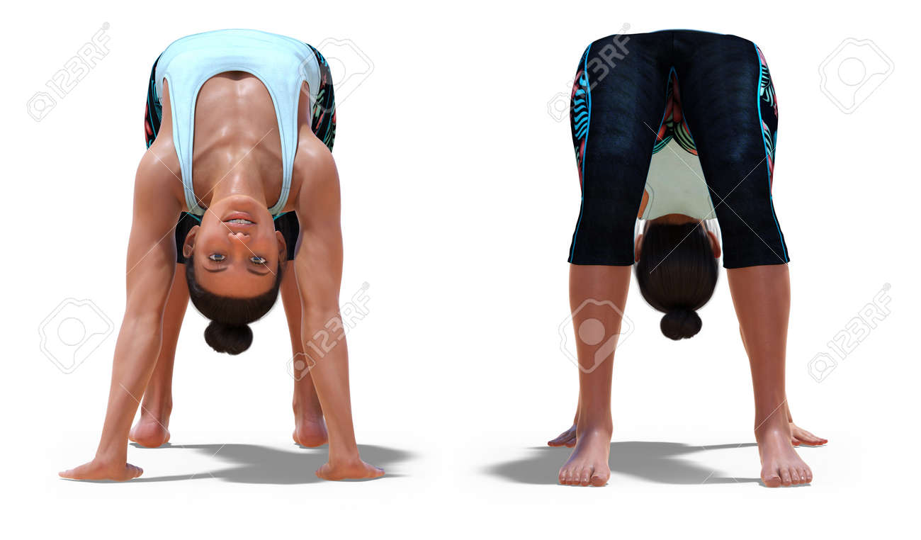 Front And Back Poses Of A Virtual Woman In Yoga Wheel Pose With Stock Photo Picture And Royalty Free Image Image 142329205