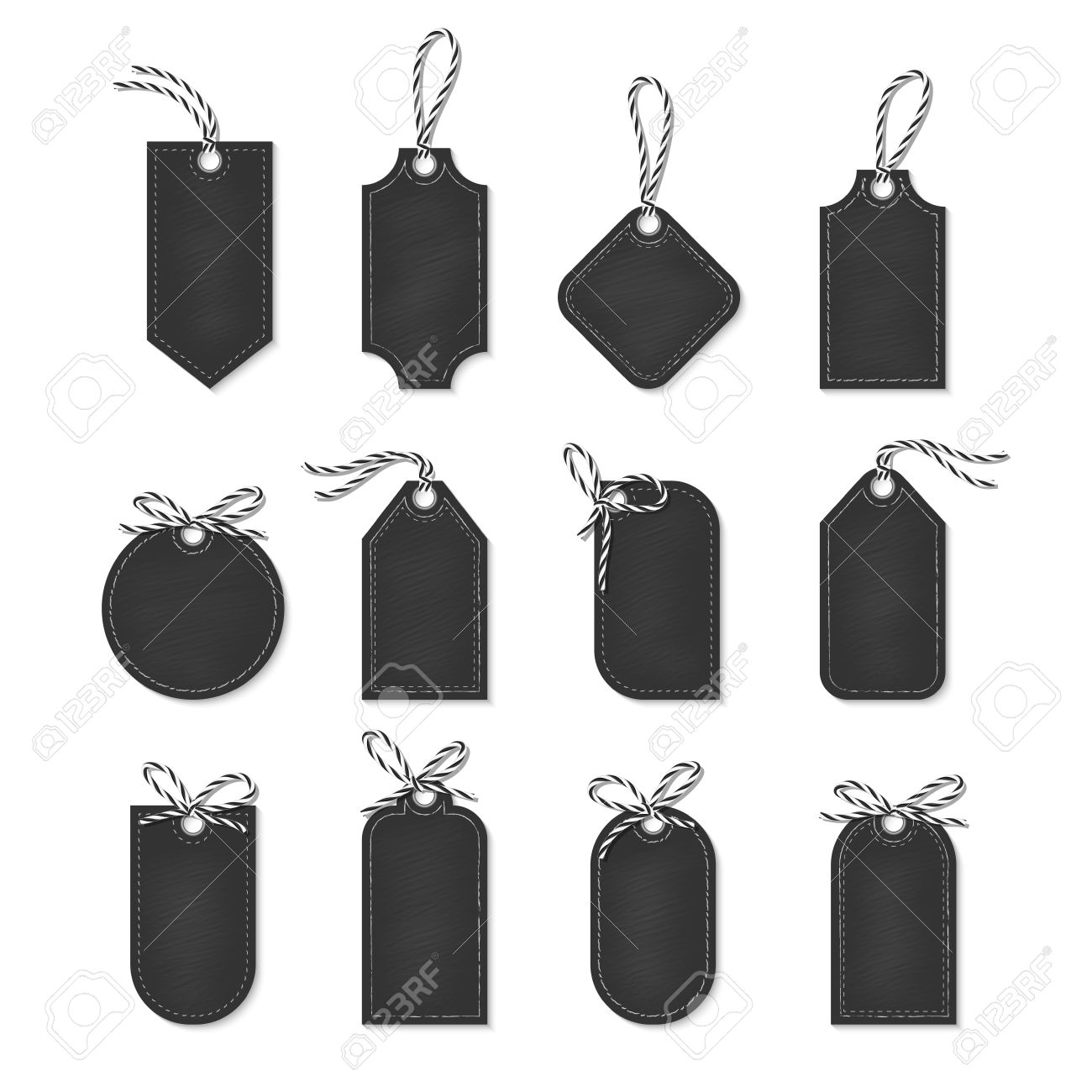 set of chalkboard tags and labels tied up with black bakers twine