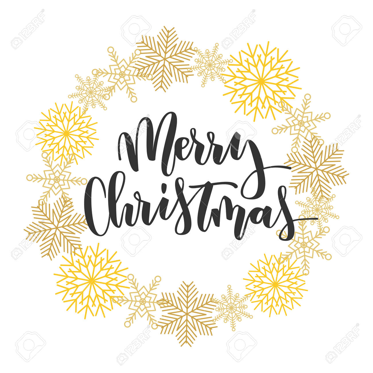 Merry Christmas Black Hand Written Inscription With Gold Snowflakes Wreath On White Background Stock Vector