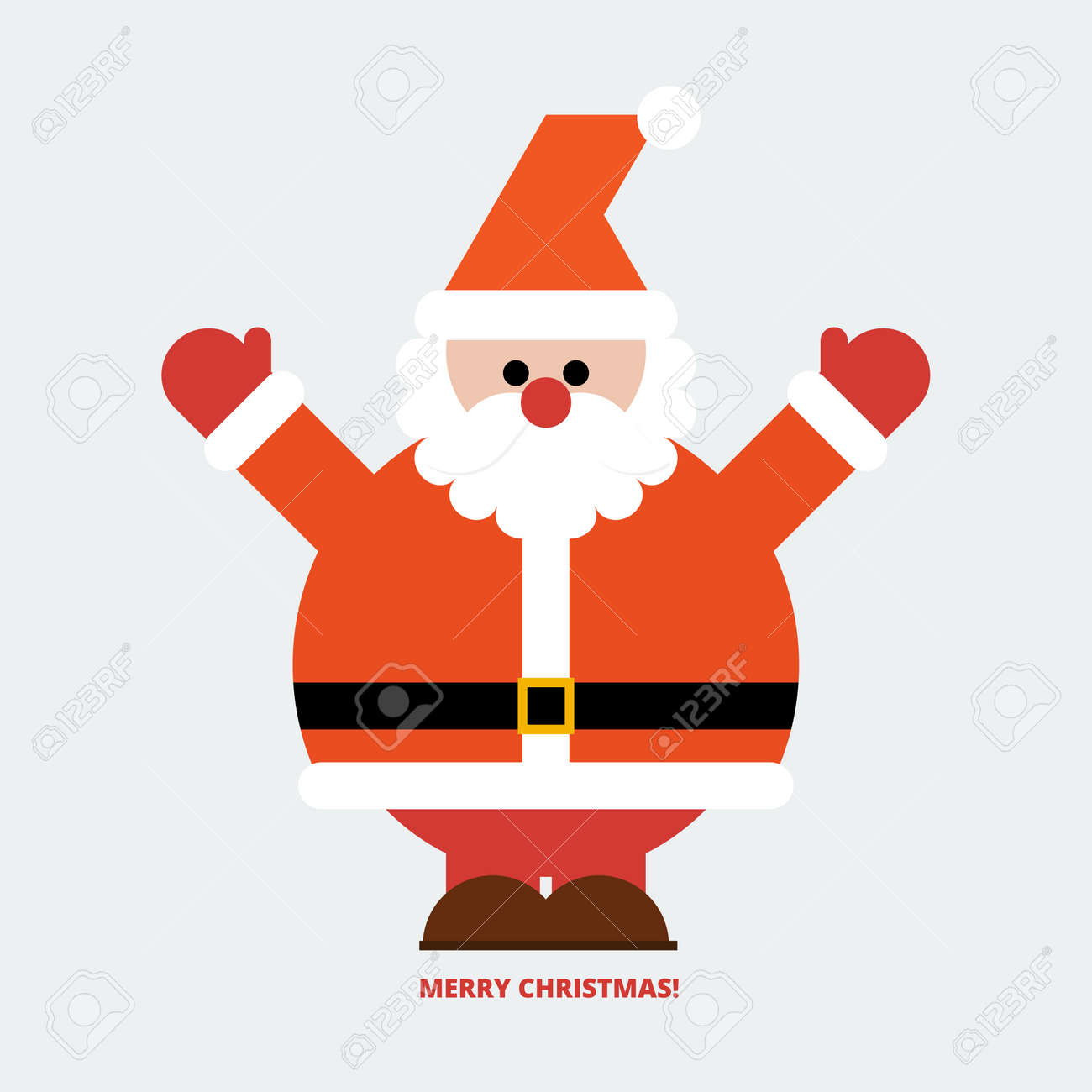 Merry Christmas Santa Claus Greeting Card In Flat Style Royalty Free
